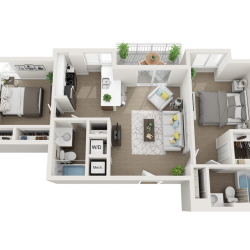 Broa two bedroom two bathroom 3D floor plan