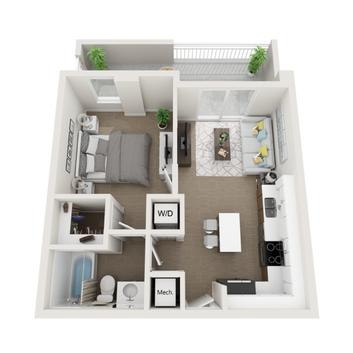 Aby l one bedroom one bathroom 3D floor plan