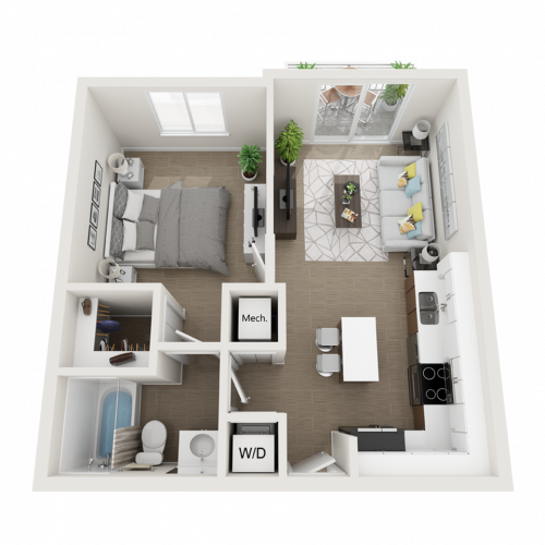 Aby ll one bedroom one bathroom 3D floor plan