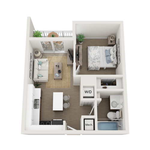 Aby lll one bedroom one bathroom 3D floor plan