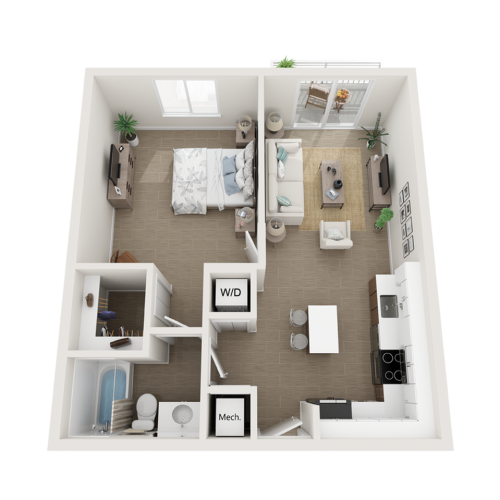 Aby lV one bedroom one bathroom 3D floor plan