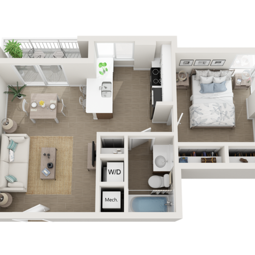 Abaya one bedroom one bathroom 3D floor plan