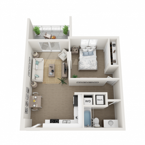 Atlin one bedroom one bathroom 3D floor plan