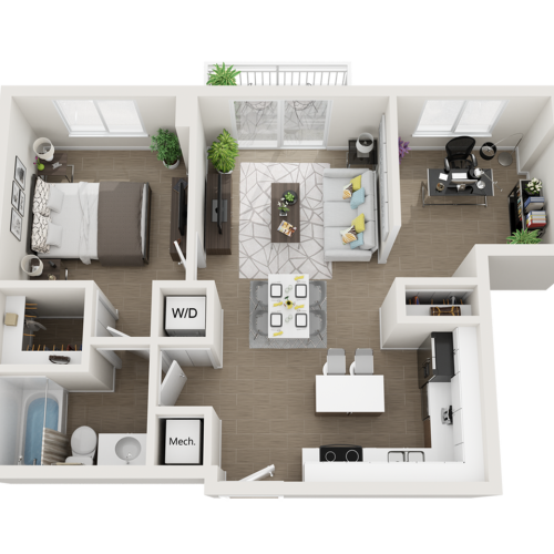 Alexandrina one bedroom one bathroom 3D floor plan