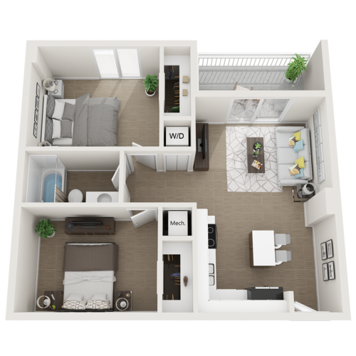 Aberdeen one bedroom one bathroom 3D floor plan