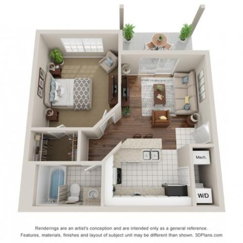 One bedroom apartment 3D floor plan Tampa, FL