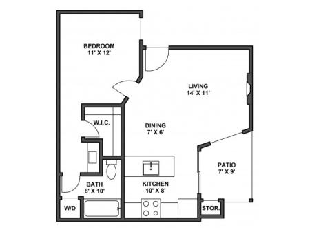 One bedroom, one bathroom, kitchen, dining room, living room, patio with storage, two walk in closets, laundry room, A1 floor plan, 562 square foot.