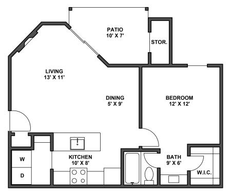 One bedroom, one bathroom, kitchen, dining room, living room, patio with storage, two walk in closets, laundry room, A2 floor plan, 642 square foot.