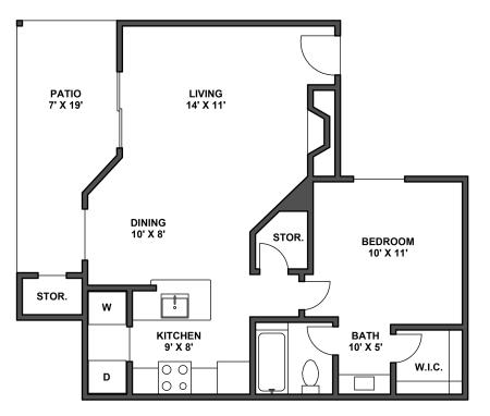One bedroom, one bathroom, kitchen, dining room, living room, patio with storage, two walk in closets, laundry room, A3 floor plan, 704 square foot.