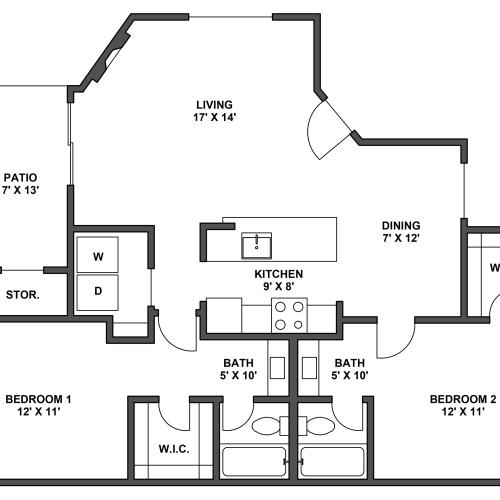 Two bedroom, two bathroom, patio with storage, living room, dining room, kitchen, laundry room, two walk in closets. B2 floor plan,1012 Square feet.