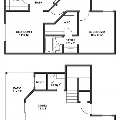 Two bedroom, two bathroom, patio with storage, living room, dining room, kitchen, laundry room, two walk in closets. B3 floor plan,1198 Square feet.