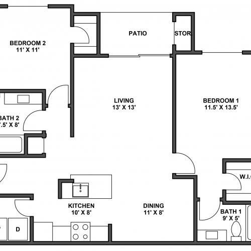Two bedroom, two bathroom, patio with storage, living room, dining room, kitchen, laundry room, two walk in closets. B5 floor plan, 1044 Square feet.