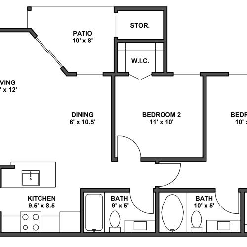 Two bedroom, two bathroom, patio with storage, living room, dining room, kitchen, laundry room, two walk in closets. B4 floor plan, 900 Square feet.