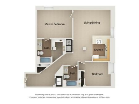 One Bedroom One Bathroom + Den Floor Plan