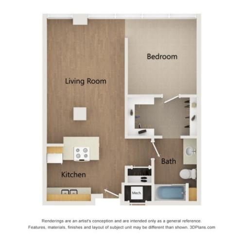 A3 1 Bedroom Layout