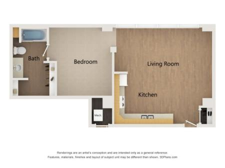 A4 1 Bedroom Layout
