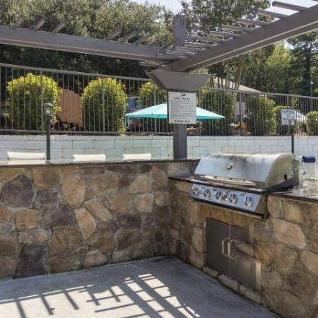 Outdoor kitchen area with barstool seating and gas grill