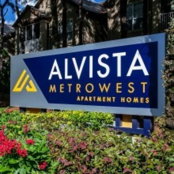 Alvista Metrowest Apartment Homes monument sign with colorful flowers