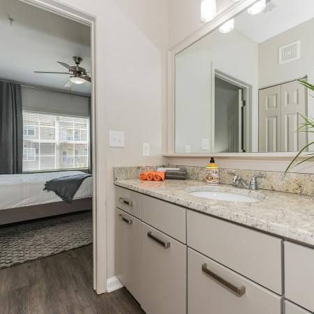 Oversized single bathroom vanity, framed mirorr, sleek pulls, quartz countertops, wood inspired flooring