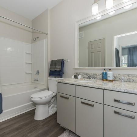 Oversized single bathroom vanity, framed mirorr, sleek pulls, quartz countertops, standing shower, wood inspired flooring