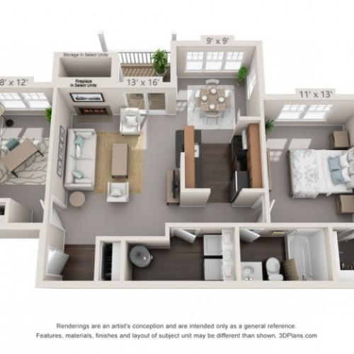 Sycamore - One Bedroom One Bathroom with Den