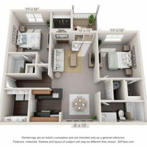 Spruce - 2 Bedrooms 2 Bathrooms
