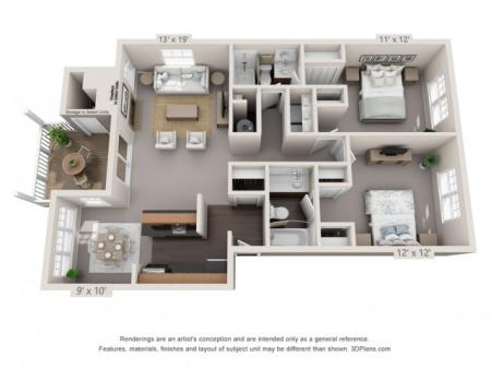 Oak - 2 Bedrooms 2 Bathrooms