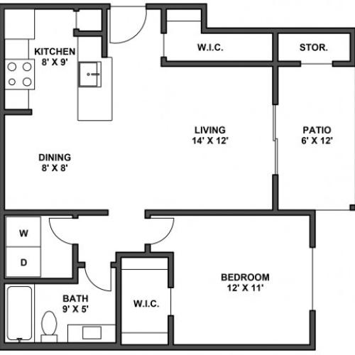 One bedroom, one bathroom, kitchen, dining room, living room, patio with storage, two walk in closets, laundry room, A4 floor plan, 680 square foot.