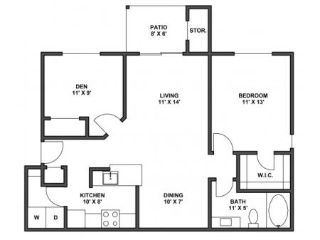 One bedroom, one bathroom, kitchen, dining room, living room, patio with storage, two walk in closets, laundry room, A5G floor plan, 870 square foot. with attached garage