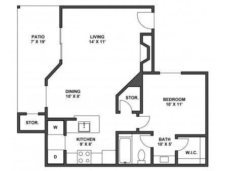 One bedroom, one bathroom, kitchen, dining room, living room, patio with storage, two walk in closets, laundry room, A3R floor plan, 704 square foot.