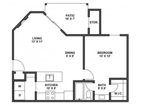 One bedroom, one bathroom, kitchen, dining room, living room, patio with storage, two walk in closets, laundry room, A2R floor plan, 642 square foot.