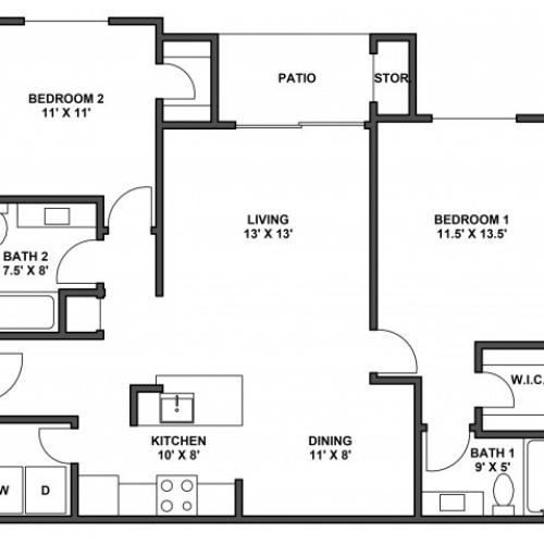 Two bedroom, two bathroom, patio with storage, living room, dining room, kitchen, laundry room, two walk in closets. B5 floor plan, 1044 Square feet  with garage