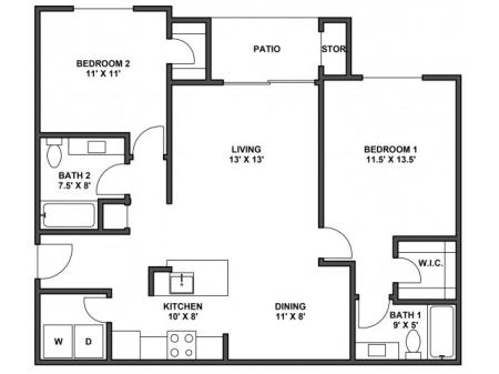 Two bedroom, two bathroom, patio with storage, living room, dining room, kitchen, laundry room, two walk in closets. B5R floor plan, 1044 Square feet  with garage