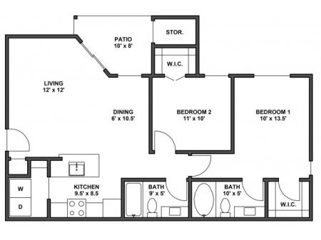Two bedroom, two bathroom, patio with storage, living room, dining room, kitchen, laundry room, two walk in closets. B4R floor plan, 900 Square feet.