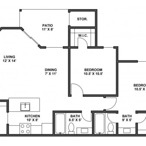 Two bedroom, two bathroom, patio with storage, living room, dining room, kitchen, laundry room, two walk in closets. B1R floor plan, 877 Square feet.