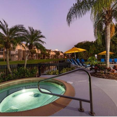 Alvista Sterling Palms outdoor lakeside spa at twilight