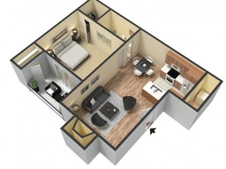 The Creek (641 sq.ft. One Bedroom One Bath)