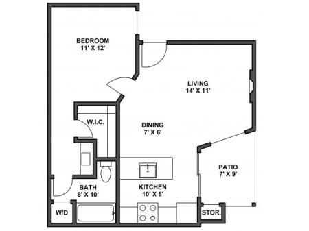 One bedroom one bathroom, kitchen, kitchen pantry, dining room, living room, laundry room, one closet and patio. 562 Square foot, A1D floor plan