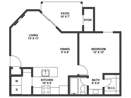 One bedroom one bathroom, kitchen, kitchen pantry, dining room, living room, laundry room, one closet and patio. 642 Square foot, A2D floor plan