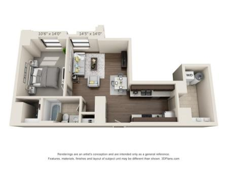 A15-ONE BEDROOM/ ONE BATHROOM- 871 Sq. Ft.
