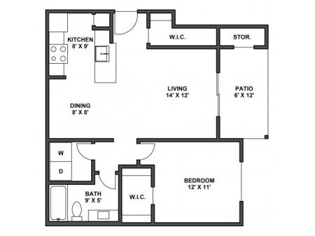 One bedroom, one bathroom, kitchen, dining room, living room, patio with storage, two walk in closets, laundry room, A4R floor plan, 680 square foot.