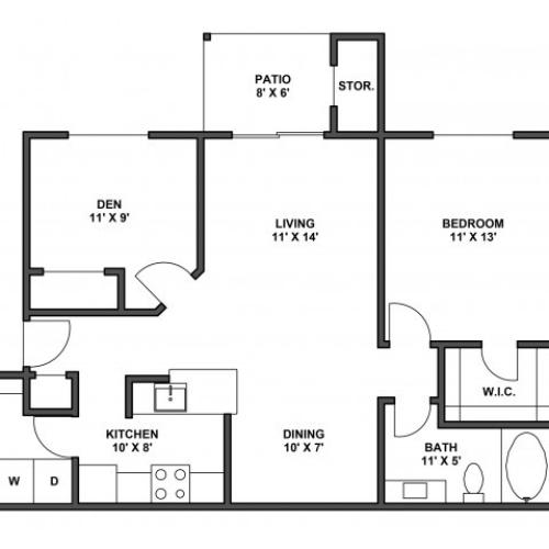 One bedroom one bath, one den, kitchen, kitchen pantry, living room, dining room, laundry room, one closet and patio with storage. A5R 870 Square feet.