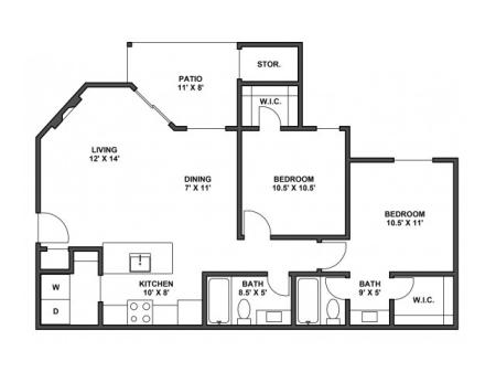 Two bedroom, two bathroom, patio with storage, living room, dining room, kitchen, laundry room, two walk in closets. B1D floor plan, 877 Square feet.