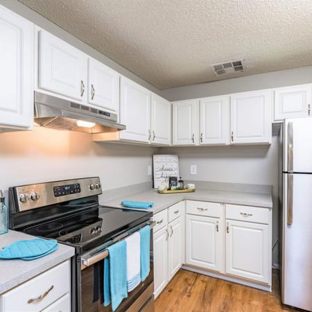 View of Kitchen area with stainless steel appliances