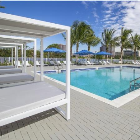 Grand Pool with large deck and cabanas for relaxing.