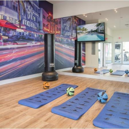 Fitness spin room with yoga mats, mural wall, punching bag, and medicine balls
