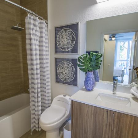 Bathroom with shower tub with sink and cabinet