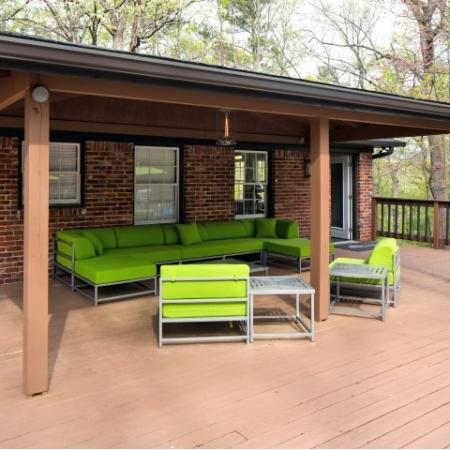 Outdoor lounge area with lounge furniture