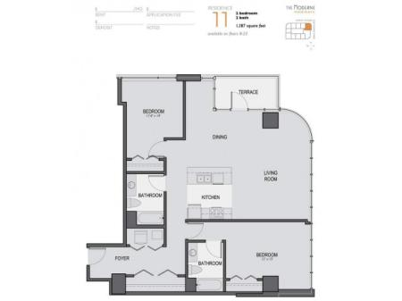 Two Bedroom Two Bathroom Floor Plan 11
