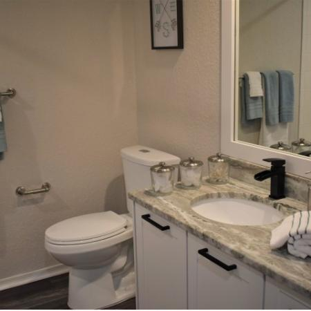 Renovated brand new granite Apartment bathroom with wood like flooring,  tub/shower, large mirror and single sink